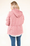jacket, three quarter sleeve, hood, zip up, drawstring waist, pockets, mauve, comfy, outerwear