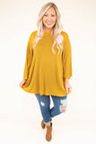 shirt, long sleeve, bell sleeve, flowy, mustard, solid, comfy, fall, winter