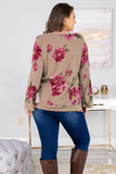 top, casual top, long sleeve, floral, mocha, pink, casual, scoop neck