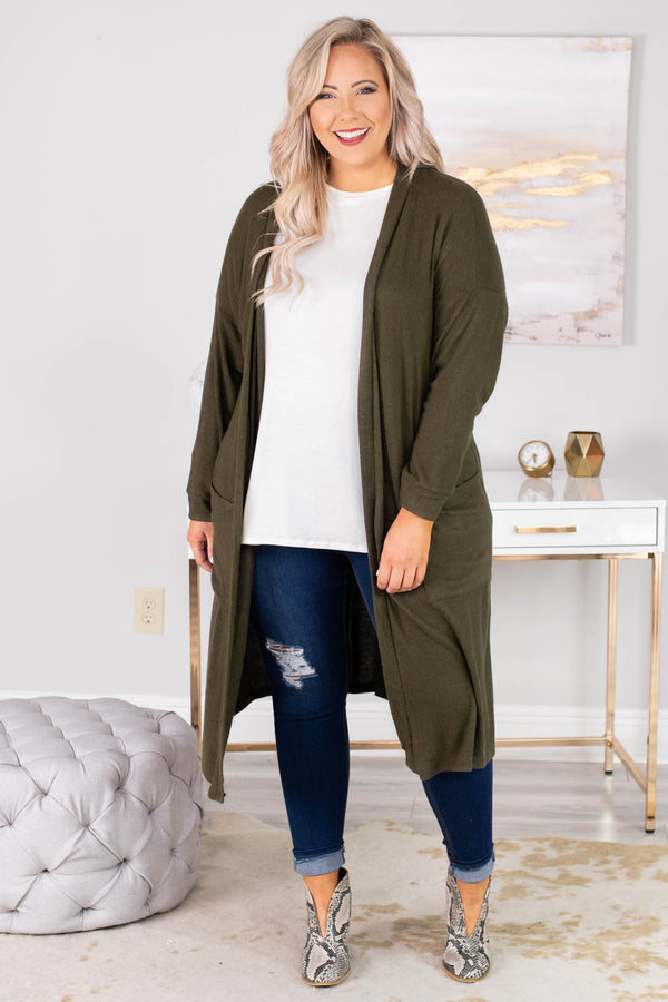 cardigan, long sleeve, long, pockets, olive, flowy, comfy