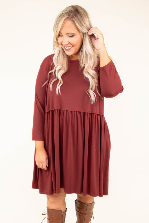 dress, short, three quarter sleeve, babydoll, flowy, red, comfy