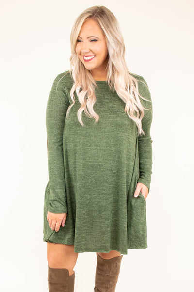 dress, short, long sleeve, olive, elbow patches, flowy, fall, winter