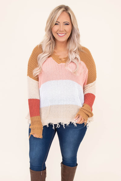 sweater, long sleeve, short, distressed hems, vneck, comfy, mustard, pink, white, tan, rust, colorblock, fall, winter