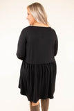 dress, short, three quarter sleeve, babydoll, flowy, black, comfy