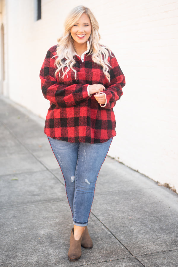 pullover, long sleeve, quarter snaps, red, black, plaid, comfy, outerwear, fall, winter