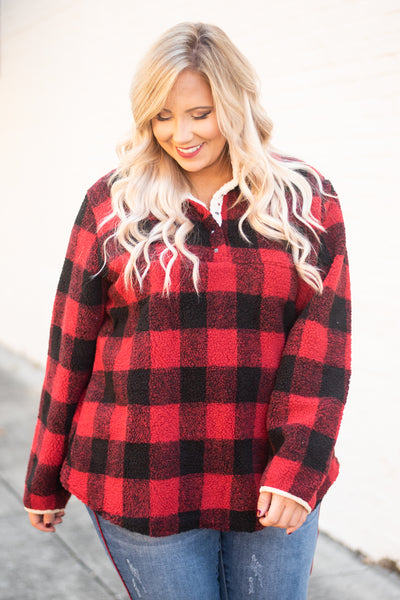 Cuddle By The Fire Pullover, Red