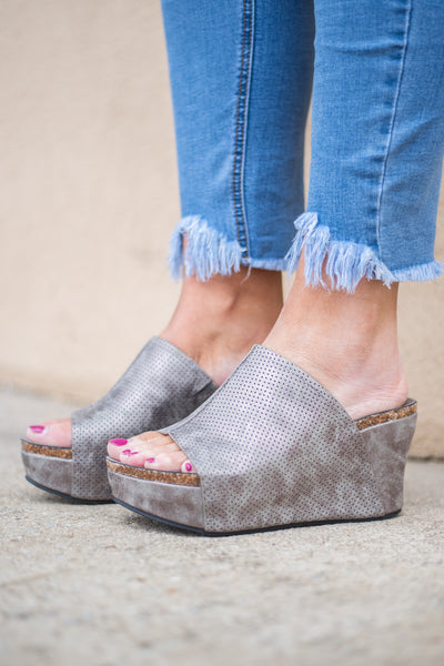 wedges, foot strap, open toed, open heeled, pewter, cork sole