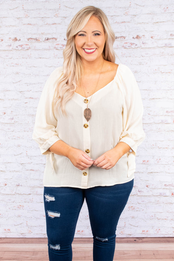 shirt, three quarter sleeve, vneck, button down, bubble sleeves, tan, comfy