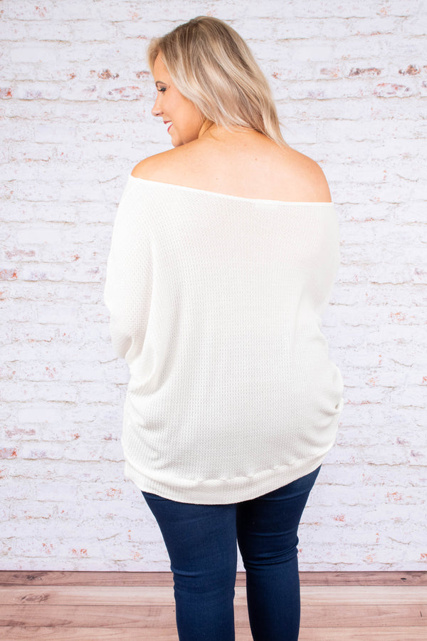 shirt, long sleeve, off the shoulder, waffle knit, loose, white, fall, winter