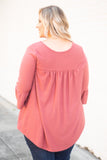 Top, Pink, Mauve, Three Quarter Sleeve, flowy, fall, spring, textured, swiss dot