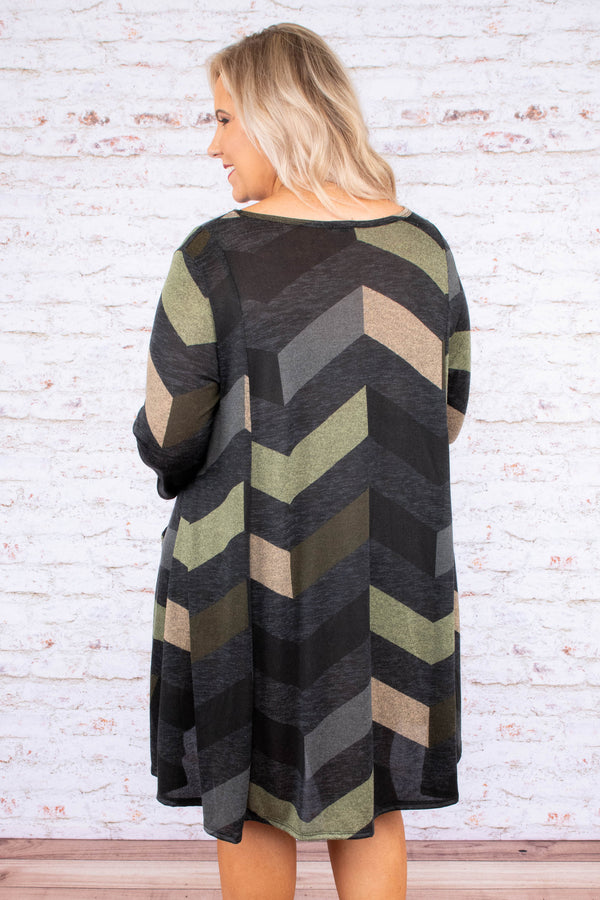 dress, short, three quarter sleeves, olive, gray, black, brown, chevron, front pockets, flowy, fall, winter