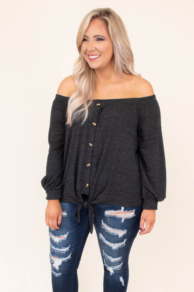 top, casual top, off the shoulder, button detail, tie at the bottom, long sleeve, charcoal