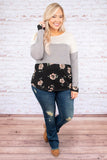 shirt, long sleeve, white, gray, black, green, blush, floral, colorblock, comfy, fall, winter