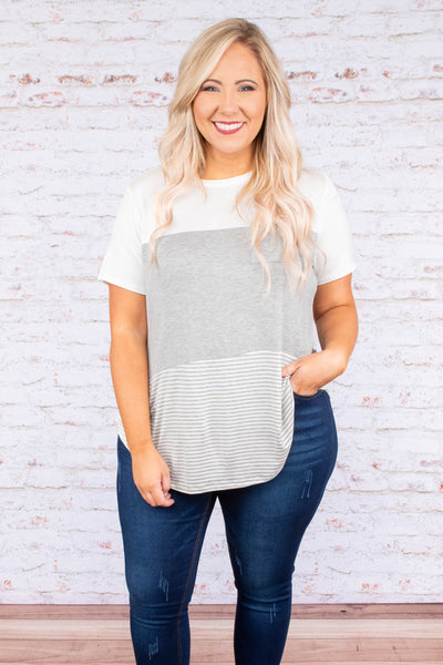 shirt, short sleeve, curved hem, chest pocket, white, gray, striped, colorblock, comfy