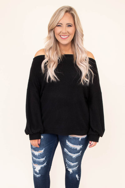top, casual top, long sleeve, black, off the shoulder, fitted hem