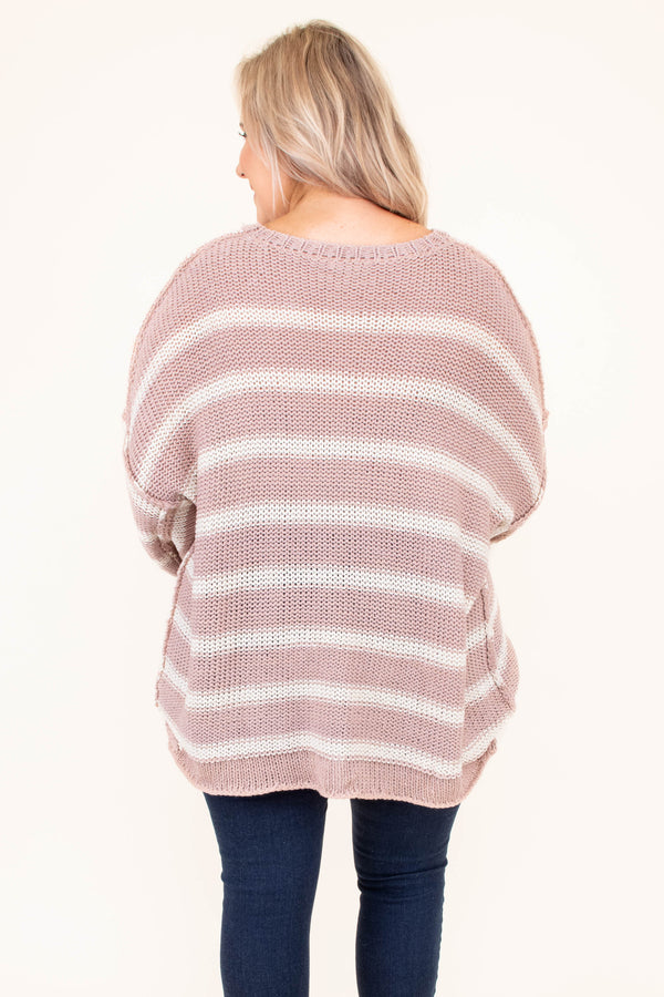 top, sweater, bell sleeve, striped, mauve, white, flowy, comfy, long sleeve