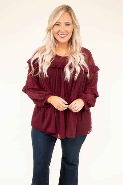 Move Over Manhattan Blouse, Burgundy
