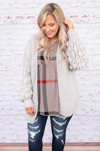 top, cardigan, detailed sleeves, grey, open front, short, long sleeve