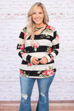 top, casual top, long sleeve, striped, floral, criss cross top, curved hem