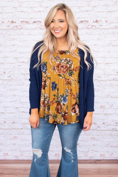 top, cardigan, blue, long sleeve, open front