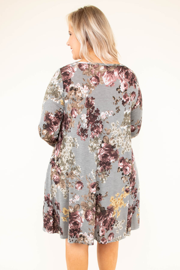 dress, three quarter sleeves, gray, purple, floral, flowy, loose, comfy