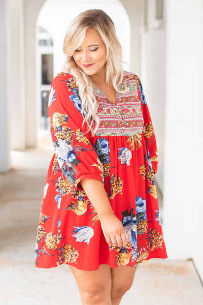 Bliss In Boho Dress, Red