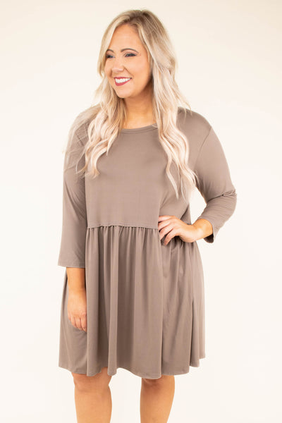 dress, short, three quarter sleeve, babydoll, flowy, tan, comfy