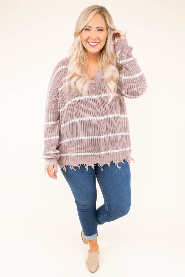 sweater, long sleeve, vneck, frayed, mauve, white, striped, comfy, fall, winter