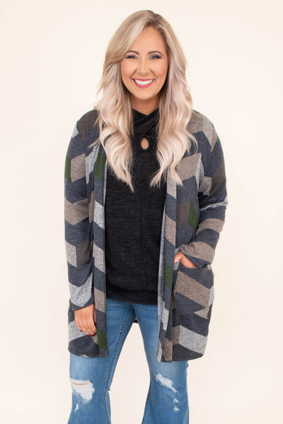 top, cardigan, chevron, long sleeve, grey, brown, open front, pockets