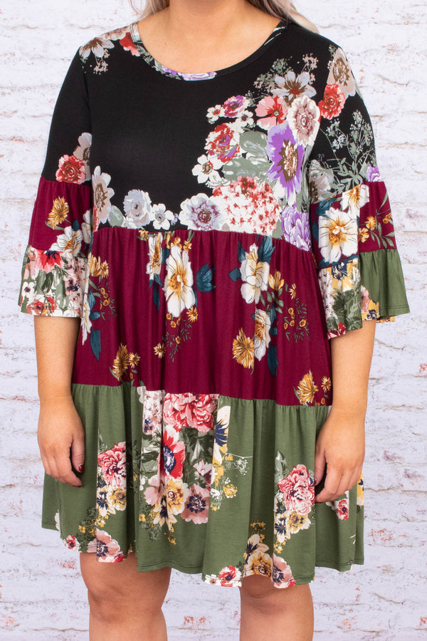 dress, baby doll dress, three quarter sleeve, color block, floral, olive, burgundy, black
