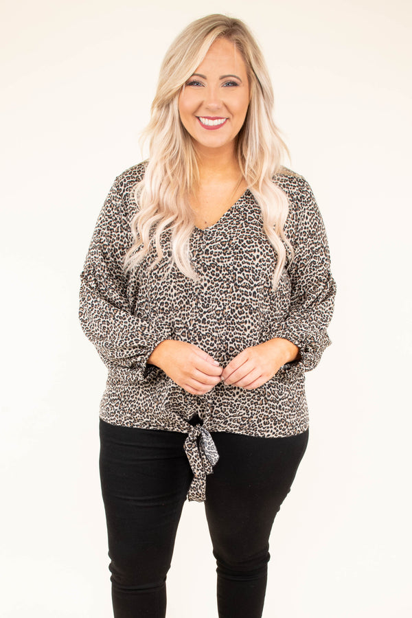 top, long sleeve, tie waist, printed, leopard