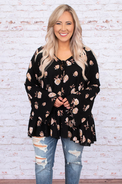 top, blouse, long sleeve, baby doll top, black, floral