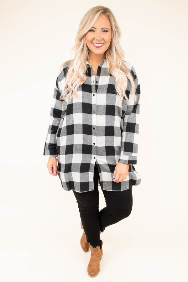 tunic, long sleeve, button down, collared, long, black, white, plaid, comfy, fall, winter