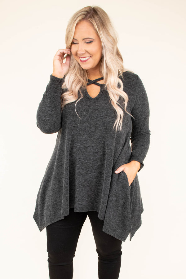 shirt, long sleeve, crisscross neckline, asymmetrical hem, long, flowy, pockets, charcoal, comfy, fall, winter