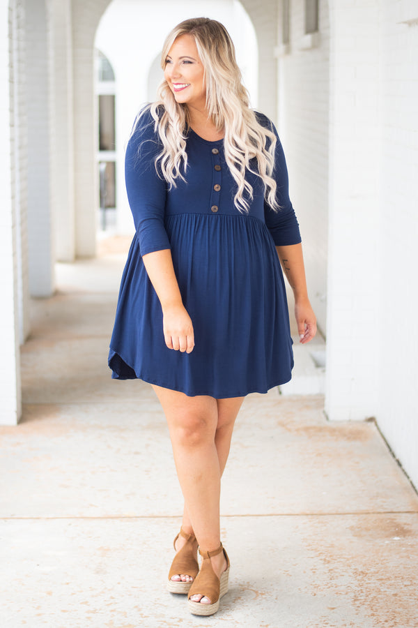 On My Terms Dress, Navy