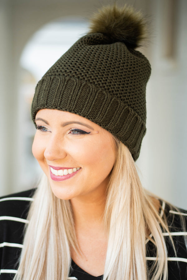 beanie, knit, puff ball, comfy, fall, winter, olive