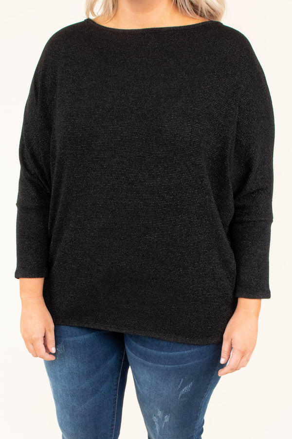 top, long sleeve, black, shimmer