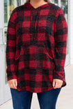 top, casual, plaid, red, black, hoodie, curved hem, long sleeve, pockets