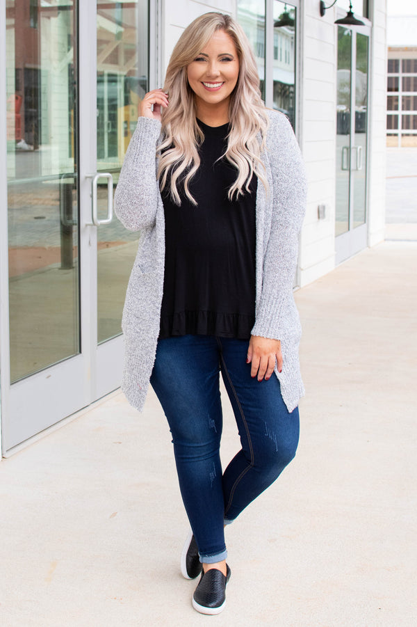 top, cardigan, charcoal, open front, pockets, long sleeve