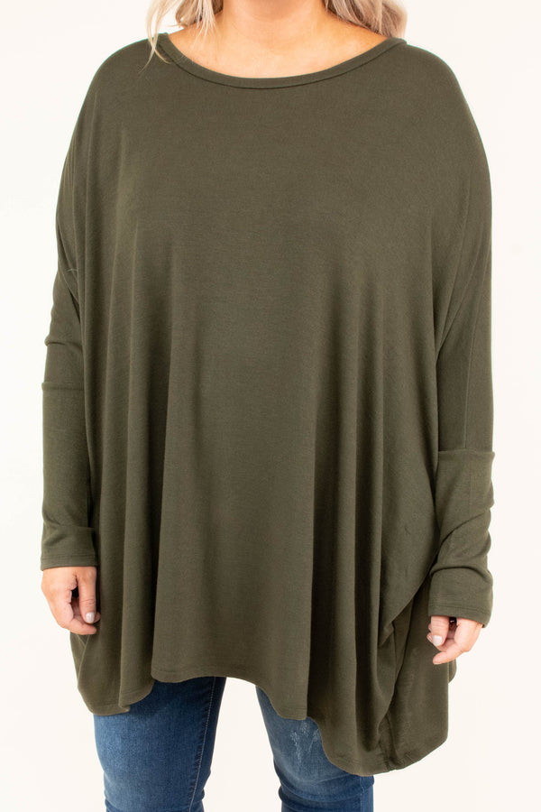 tunic, long sleeve, long, flowy, olive, solid, comfy, fall, winter