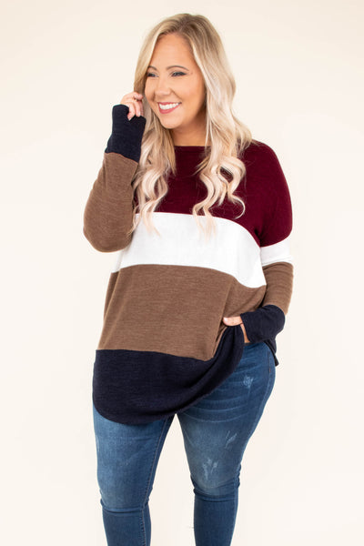 shirt, long sleeves, curved hem, long, burgundy, white, brown, navy, colorblock, comfy, cozy, fall, winter