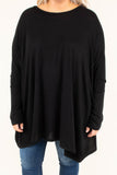 tunic, long sleeve, asymmetrical hem, high neck, flowy, fitted sleeves, black, solid, comfy