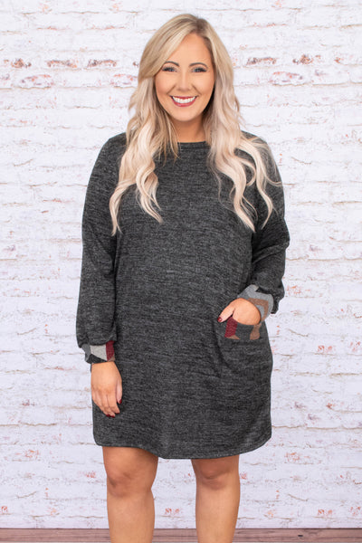 dress, short, long sleeve, pockets, chevron cuffs, chevron pockets, charcoal, heathered, comfy, loose, fall, winter