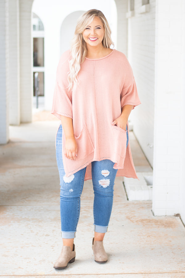 top, blush, sweater, three quarter sleeve, tunic