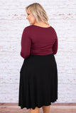 dress, midi, long sleeve, pockets, flowy, fitted waist, burgundy, black, colorblock, comfy, fall, winter
