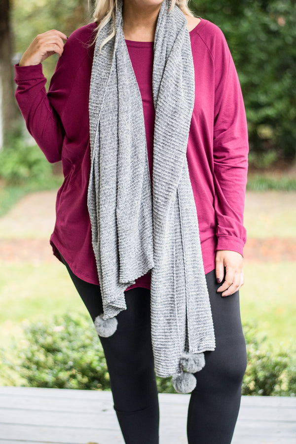 scarf, pompoms, gray, sweater material, comfy, fall, winter
