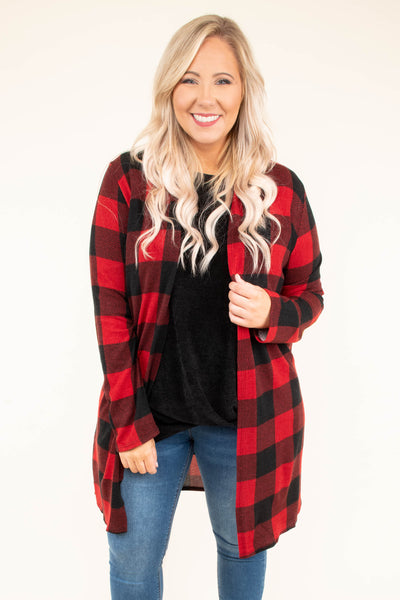cardigan, long sleeve, long, black, red, plaid, comfy, fall, winter