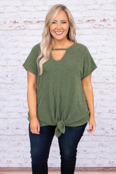 shirt, short sleeve, vneck, tie front, olive, heathered, comfy, longer back, loose sleeves