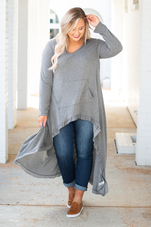 Boss Lady Tunic, Mid Grey
