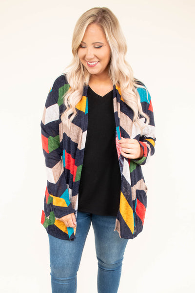 cardigan, long sleeve, pockets, navy, green, yellow, red, white, tan, blue, chevron, comfy